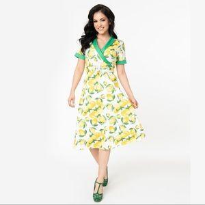 UNIQUE VINTAGE Lemon Print Swing Dress